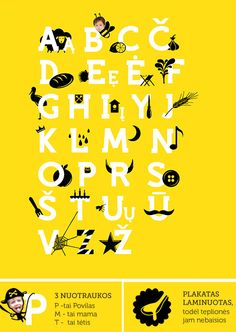 Lithuanian alphabet poster for kids