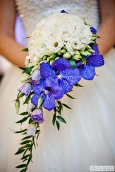Blue white wedding bouquet