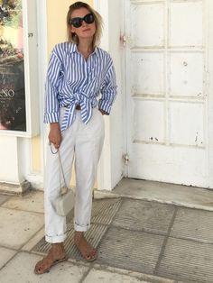 2cafb48a27 Greece Look  look  lotd  white  pants  highwaisted  hm  trend   römersandalen  me  mango  céline  marta  sungöasses  stripes  blue