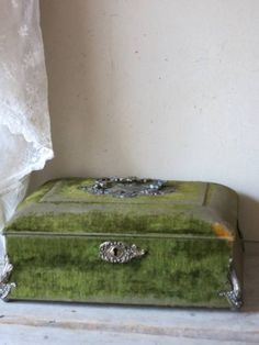 Shades Of Green, Green And Grey, British West Indies, Victorian Life, Antique Vanity, Antique Boxes, Vintage Box, Vintage Velvet, Suitcases