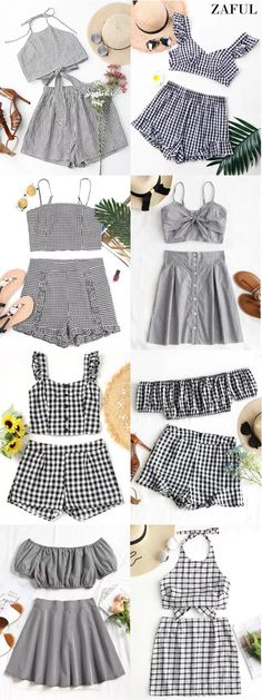 Halter Striped Two Piece Suit. zaful,zafu… - Jumpsuits and Romper Cute Spring Outfits, Spring Fashion Outfits, Summer Dress Outfits, Casual Summer Dresses, Trendy Dresses, Look Fashion, Cute Outfits, Dress Summer, Summer Shorts