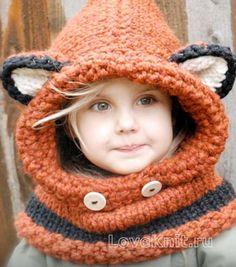 Схема спицами детский капор с ушками в виде лисички