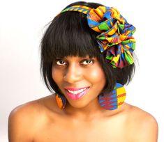 beautiful handmade kente cloth headband with matching disk earrings.