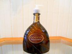 Repurposed Godiva Chocolate Liqueur Bottle Hand Soap or Hand Lotion Dispenser  by sandmanglassworks on Etsy