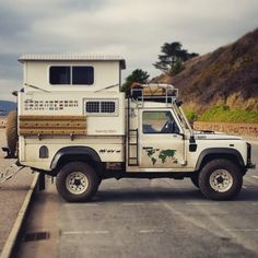 coffeentrees: photo by by polerstuff Truck Bed Camper, Off Road Camper, Truck Camping, Camper Van, Land Rover Defender Pickup, Defender Camper, Landrover Defender, 4x4, Motorhome
