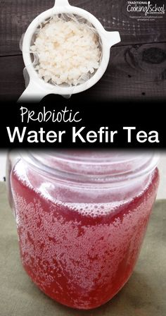Probiotic Water Kefir Tea   When I began to make water kefir, I ran into a problem pretty quickly: what was I going to do with it? All of the probiotic elixir coming out of my kitchen just couldn't go to waste! At first I mixed the water kefir with freshly-squeezed lemon juice to create lemonade, but soon my family wanted more variety. So... I experimented with tea.   TraditionalCookingSchool.com