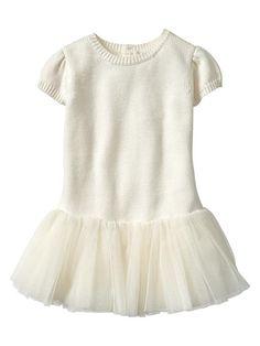 Tulle-skirt sweater dress