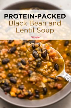 Savory and satisfying, this flavorful, protein-packed Black Bean and Lentil Soup is ideal for Meatless Mondays. Savory and satisfying, this flavorful, protein-packed Black Bean and Lentil Soup is ideal for Meatless Mondays. Lentil Soup Recipes, Veggie Recipes, Whole Food Recipes, Diet Recipes, Cooking Recipes, Healthy Recipes, Easy Lentil Soup, Recipes For Lentils, Lentil Soup Nutrition