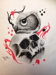 Owl and skull trash polka tattoo design by: Instagram: @ash.w.tats Twitter: @ashwtats Facebook: https://www.facebook.com/pages/Ash-Wilkinson-Tattoo-Artist/674749435985112