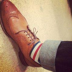 Men's Fashion Friday. Allen Edmonds wingtip brogues, striped socks and premium denim jeans. #AllenEdmonds #mensfashion #menstyle