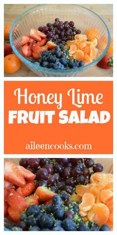 Honey Lime Fruit Salad made with all fresh fruit and tossed with a delicious and light honey lime dressing Fruit Recipes, Summer Recipes, Salad Recipes, Healthy Recipes, Healthy Meals, Fruit Salad Making, Honey Lime Dressing, Fruits For Kids, How To Make Salad