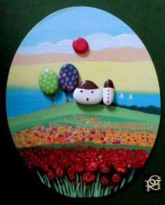 Tra l'azzurro del mare e il rosso dei papaveri-Painted Stones di Rosaria Gagliardi