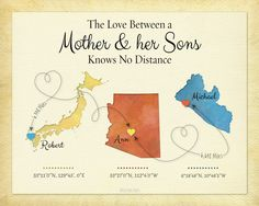 Custom Long Distance Gift for Mom, Birthday Gift for Mom, Going Away Gift, Family Gift, Long Distance Quote print by KeepsakeMaps on Etsy