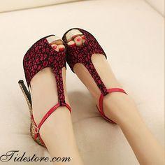 Red Stiletto Heels Peep Toe PU Upper Women Heels