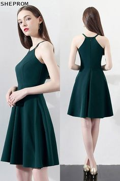 SheProm offers formal, party, casual & more style dresses to fit your special occasions. Green Homecoming Dresses, Grad Dresses, Dresses For Teens, Trendy Dresses, Short Dresses, Fashion Dresses, Formal Dresses, Halter Dress Formal, Fashion 2018