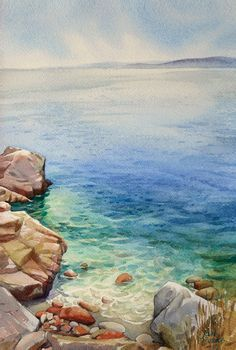 A bit more seascape than landscape. I can't trace the artist's website so if anyone knows who the artist is, I'd love to know - please add information in the comment. Watercolor Projects, Watercolor Landscape Paintings, Seascape Paintings, Watercolor Techniques, Landscape Art, Painting Inspiration, Art Inspo, Watercolor Ocean, Watercolor Illustration