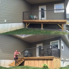 Deck before & after with facing, stairs and side door under the deck.