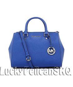 Michael Kors Sutton Saffiano Medium Satchel Bag Handbag Electric Blue NWT #MichaelKors #Satchel