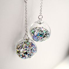 Round prism glitter in hand blown glass ball long by thestudio8, $34.00