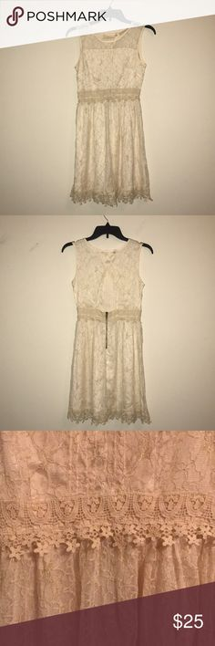 Altar'd State Lace Dress Cream colored, floral lace dress with open back and delicate gold detailing Altar'd State Dresses