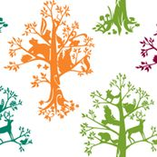 Forest Spirits    15 different animal silhouettes sit in bright colored trees.