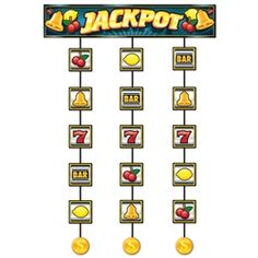 Hit the jackpot at your Casino Party with this Slot Machine Stringer!  Whether you're throwing a casino themed party, or just having a poker night with some friends, this stringer will surely make things a little more decorative.