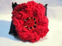 Red Irish RoseWith Hand Crocheted Black Crocheted Cuff  Bracelet  | Wyverndesigns - Crochet on ArtFire