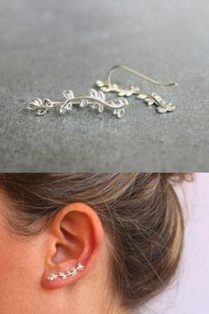 ON SALE Silver ear crawler, Sterling silver ear cuff, nature jewelry, ear climbe… - Schmuck Ear Jewelry, Cute Jewelry, Boho Jewelry, Jewelry Accessories, Jewelry Ideas, Jewelry Box, Handmade Jewelry, Fashion Jewelry, Rustic Jewelry