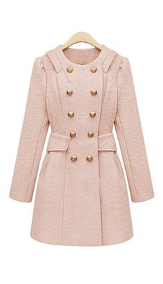 Double-breasted long-sleeved wool coat