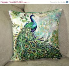 Beautiful paisley peacocks decorative pillow by PrettyPillowsDecor, $18.90
