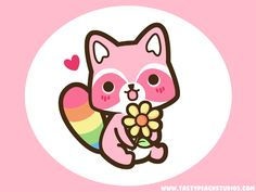 Rainbow Raccoon Wallpaper by MoogleGurl.deviantart.com Can be used on people who can faint easily to cuteness XD