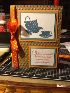 Ginger's Vintage Room: Polka a dot tea cards, close to my heart, cuttlebug, embossing, ctmh