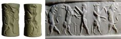 Akkadian cylinder seal, green jaspers, 2500-2300 B.C. Depicting a contest scene involving a bull man engaged with a rampant lion and a bearded male figure fighting a horned goat, 2.7 cm long. Private collection