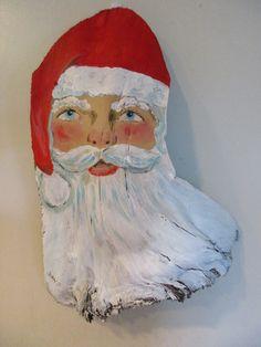 Items similar to Santa on a Palm Frond on Etsy Palm Frond Art, Palm Tree Art, Palm Fronds, Christmas Raindeer, Beach Christmas, Tiki Faces, Santa Paintings, Wood Bark, Christmas Door Decorations