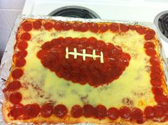 Football pizza with pepperoni.  Pillsbury recipe.: Perfect for game night!!!!:D