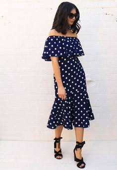 4f675aaaacf0 Irregular Polka Dot Print Wrap Over Midi Skirt with Frill Hem in ...