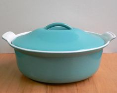 Vintage Le Creuset Turquoise Cast Iron Enameled Cocotte Oval With Lid