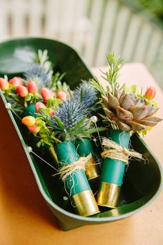 Styling Your Groom : Shotgun shell full of the hypericum berries and thistle and succulents. Great for the man that doesn't want to wear a flower Shotgun Shell Boutonniere, Rustic Boutonniere, Boutonnieres, Wedding Groom, Rustic Wedding, Our Wedding, Dream Wedding, Wedding Wishes, Wedding Stuff