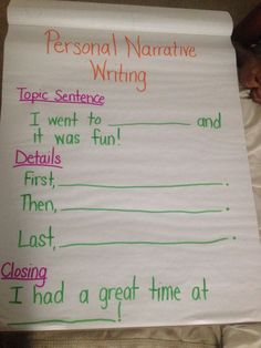 Personal Narrative Writing First Grade Writer's Workshop Anchor Chart for MiniLesson