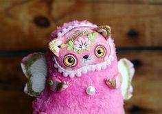 kawaii cat toy cute pink cat toy art ooak cute от LullabyForFox