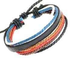 Leather Strap & Coloured Cords Leather Bracelet / Leather Wristband / Surf Bracelet - DARK BROWN LEATHER: Amazon.co.uk: Jewellery