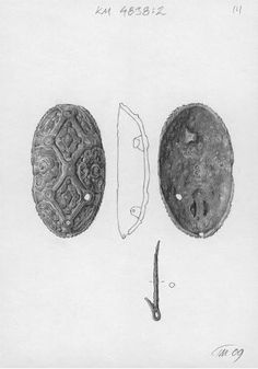 Finnish Viking Age oval brooch - Place of acquisition 	Kuhmo, Huuhila, Vieksi Time of production 	800 - 900  - length of 10.70 cm , a width of 6 cm , a height of 2.50 cm