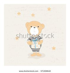 Cute little bear in striped suit with gift box, cartoon hand drawn vector illustration. Can be used for kids wear, baby shower, greeting card.