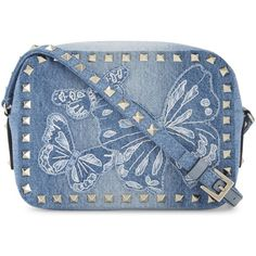 Valentino Rockstud denim cross-body camera bag ($1,300) ❤ liked on Polyvore featuring bags, handbags, shoulder bags, blue crossbody, camera bag, crossbody handbag, blue handbags and valentino handbags