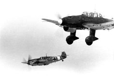 Messerschmitt Bf 109 escorting a Ju 87 over the Mediterranean. http://wrhstol.com/2gimkUM