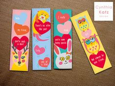 8 Kids Valentines Day Bookmarks // Colorful by CynthiaKatzDesign #bookmarks #cynthiakatzdesign #valentine