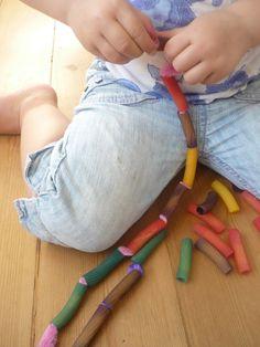 Rainbow Pasta Threading Necklaces- fine motor fun!