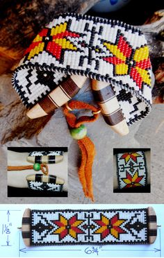 Loom Beaded Northern Plains Tribal Pattern Cuff by DiamondDDesigns