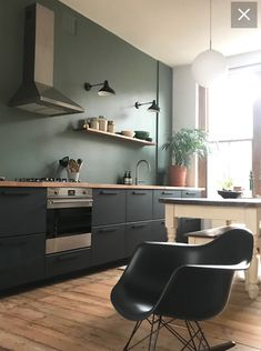 Kungsbacka – # Innenraum - New Sites Ikea Kitchen Design, Kitchen Wall Colors, Home Decor Kitchen, Interior Design Kitchen, Room Interior, Home Kitchens, Black Ikea Kitchen, Green Kitchen Walls, Küchen Design