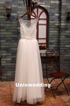 Sexy tull lace floor length wedding dress by Uniswedding on Etsy, $248.00